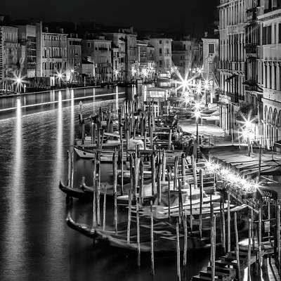 Venice View From Rialto Bridge - Monochrome Art Print