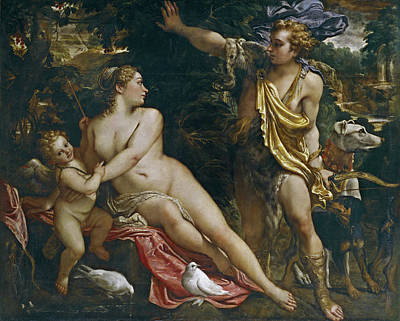 Baroque Painting - Venus, Adonis And Cupid by Annibale Carracci