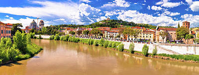 Photograph - Verona Cityscape From Adige River Bridge Panoramic View by Brch Photography
