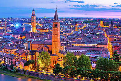 Photograph - Verona Towers And Rooftops Evening View by Brch Photography