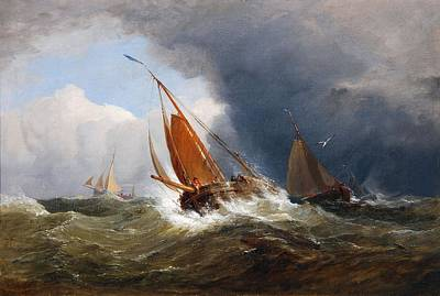 Stiff Painting - Vessels In A Stiff Breeze by Edward Duncan