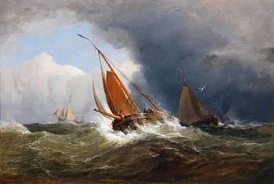Stiff Painting - Vessels In A Stiff Breeze by Edward Duncan
