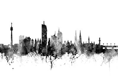 Austria Digital Art - Vienna Austria Skyline by Michael Tompsett