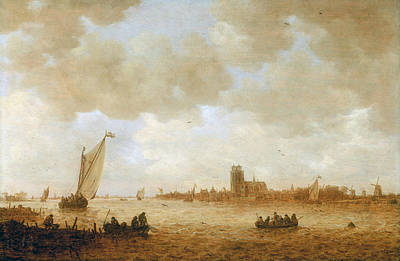 Maas Wall Art - Painting - View Of Dordrecht With The Grote Kirk Across The Maas by Jan van Goyen