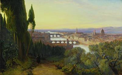 Villa Painting - View Of Florence From Villa San Firenze by Edward Lear
