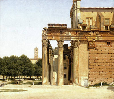 Danish Painting - View Of The Via Sacra, Rome by Christoffer Wilhelm Eckersberg