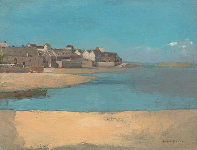 Village By The Sea In Brittany Art Print by Odilon Redon