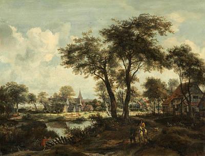 Meindert Hobbema Painting - Village Near A Pool by Meindert Hobbema