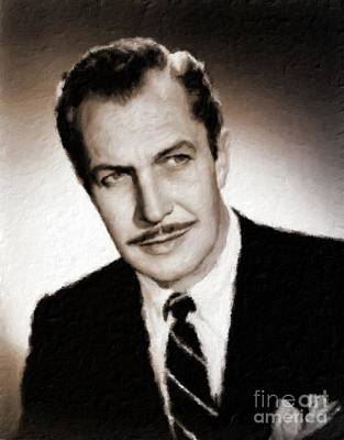 Vincent Price Painting - Vincent Price Hollywood Actor by Mary Bassett