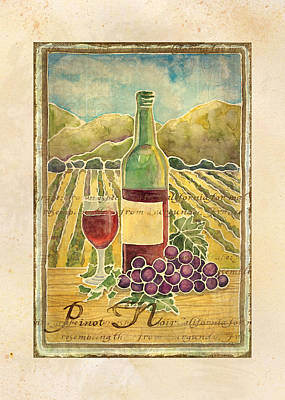 Grape Leaf Painting - Vineyard Pinot Noir Grapes N Wine - Batik Style by Audrey Jeanne Roberts