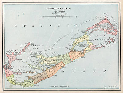 Bermudas Drawing - Vintage Map Of Bermuda  by CartographyAssociates