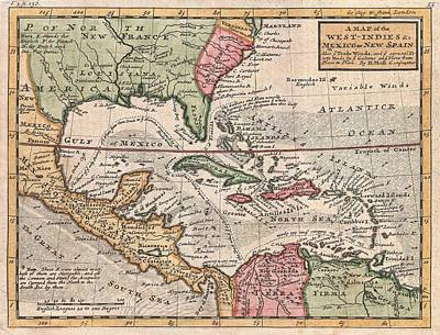 Vintage Map Of The Caribbean Art Print