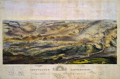 Pennsylvania Drawing - Vintage Map Of The Gettysburg Battlefield - 1863 by CartographyAssociates