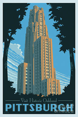 Clemson Digital Art - Vintage Style Pittsburgh Travel Poster by Jim Zahniser