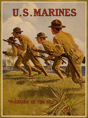 Painting - Vintage Us Marines by Vintage Pix