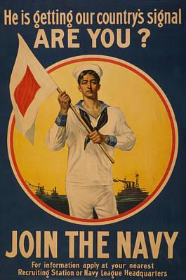 Painting - Vintage Us Navy by Vintage Pix
