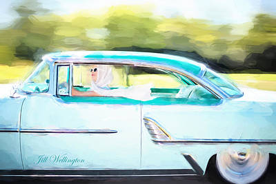 Digital Art - Vintage Val In The Turquoise Vintage Car by Jill Wellington