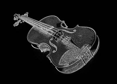 Digital Art - Violin In Black And White by PixBreak Art