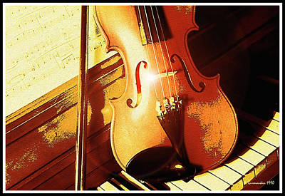 Photograph - Violin, Piano And Music Still Life, Digital Art by A Gurmankin