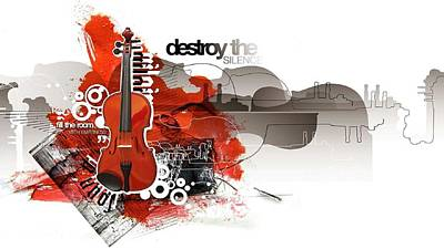 Music Wall Art - Digital Art - Violin by Super Lovely
