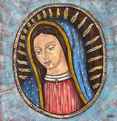 Devotional Painting - Virgen De Guadalupe by Rain Ririn