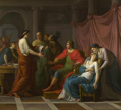 Virgil Reading The Aeneid To Augustus And Octavia Art Print by Jean Joseph Taillasson