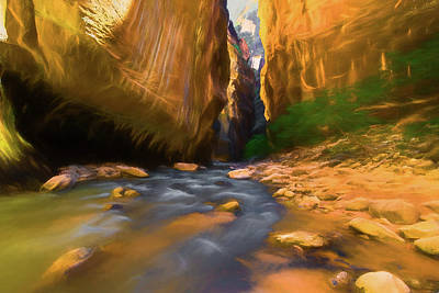 Photograph - Virgin River - Zion National Park Watercolor by Michael Balen
