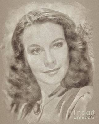 Musicians Drawings Rights Managed Images - Vivien Leigh Hollywood Actress Royalty-Free Image by Esoterica Art Agency