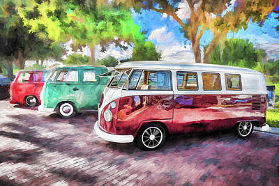 Photograph - Vw Bus Stop 1964 1961 1968 Vans Trucks Painted  by Rich Franco