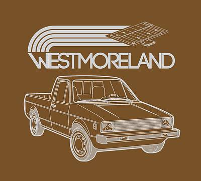 Made In The Usa Digital Art - Vw Rabbit Pickup - Westmoreland Theme - Black by Ed Jackson