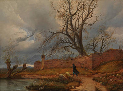 Painting - Wanderer In The Storm by Julius von Leypold