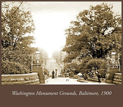 Photograph - Washington Monument Grounds Baltimore, 1900 Vintage Photograph by A Gurmankin