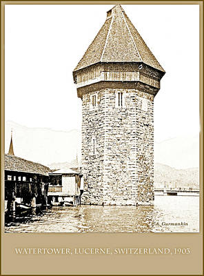Photograph - Water Tower, Lucerne, Switzerland, 1903, Vintage Photograph by A Gurmankin