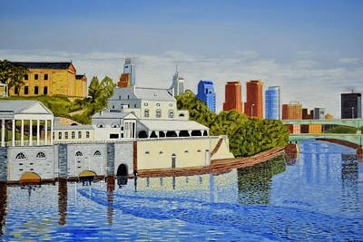 Water Works And Skyline Art Print by Michael Walsh