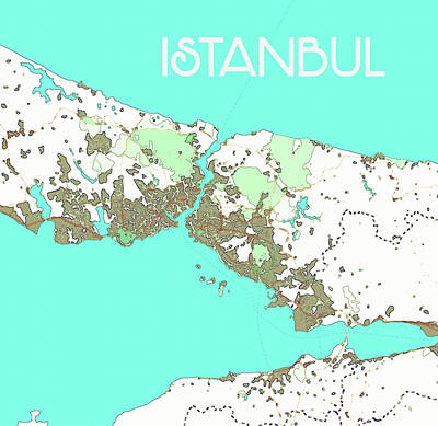 Painting - Watercolor Istanbul Map by Celestial Images