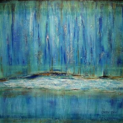 Rocks. Tidal Pool Painting - Waterfall by Denise Peat