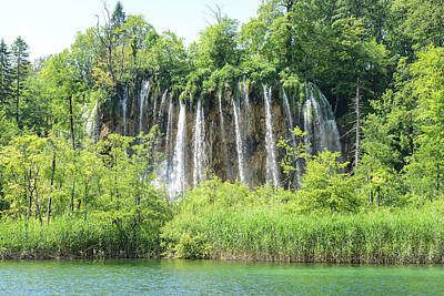 Forest Photograph - Waterfall In Plitvice National Park In Croatia by Brandon Bourdages