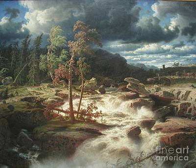 Larson Painting - Waterfall In Smaland by Celestial Images