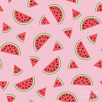 Watermelon Drawing - Watermelon Pattern by Alina Krysko