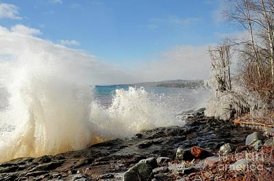 Photograph - Waves And Ice by Sandra Updyke