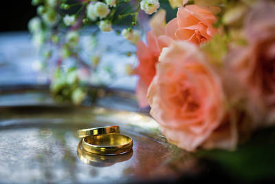 Leaf Engagement Ring Photograph - Wedding Rings Before The Ceremony, With Decorated Champagne Glasses And Roses by Chinara Rasulova