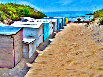 Jetty Digital Art - Weekapaug Beach Boxes by Stephen Younts