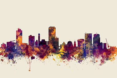 New Zealand Digital Art - Wellington New Zealand Skyline by Michael Tompsett