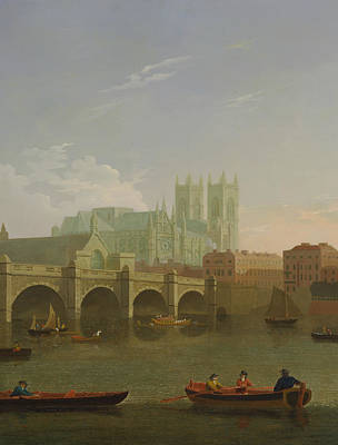 Westminster Abbey Wall Art - Painting - Westminster Abbey And Bridge by Joseph Farington