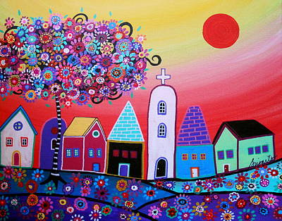 Picasso Style Painting - Whimsical Town by Pristine Cartera Turkus