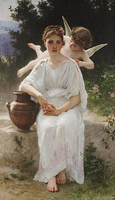 Classical Realism Painting - Whisperings Of Love by William-Adolphe Bouguereau