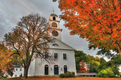 Photograph - White Church In Autumn by Joann Vitali