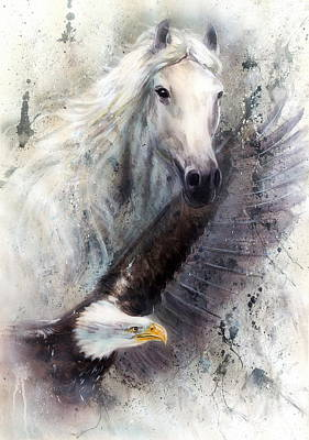 Silver Background Painting - White Horse With A Flying Eagle Beautiful Painting Illustration by Jozef Klopacka