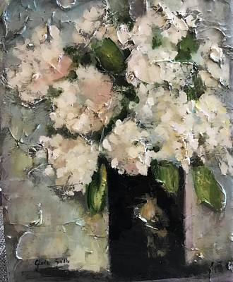 Mixed Media - White Hydrangeas by Gloria Smith