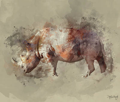 Digital Art - White Rhinoceros by Petrus Bester